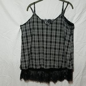 Plaid and Lace Tank
